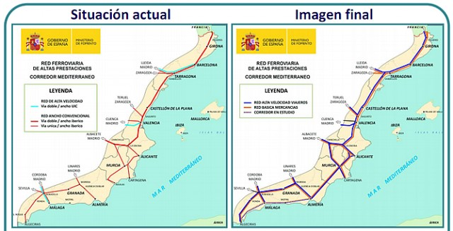 """Pla del """"Corredor Mediterraneo"""" publicat pel Ministerio de Fomento"""