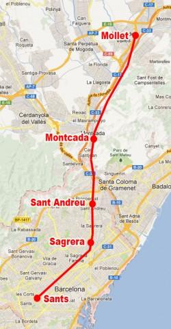 Localització del tram que es posarà en tensió el proper dilluns 26.