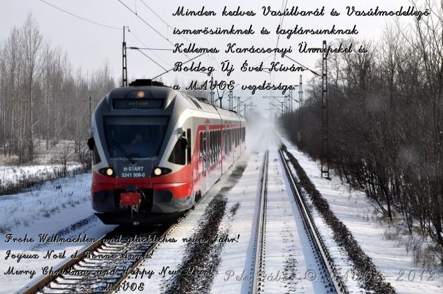 Felicitació de Nadal de MAVOE, l'Associació Nacional Hongaresa de Modelistes i Amics del Tren