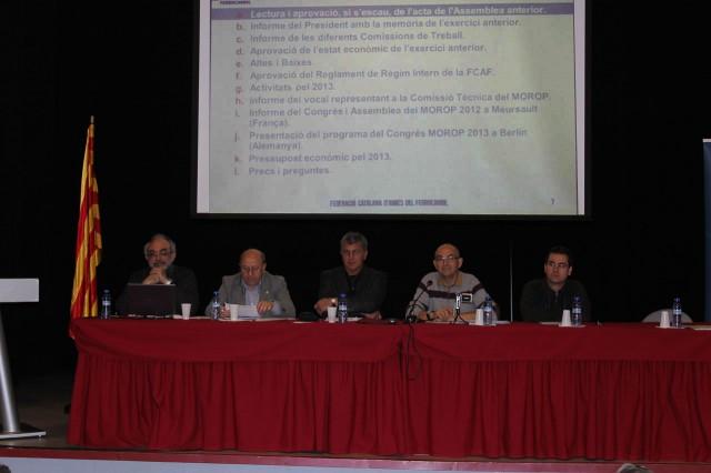 En Josep Martorell, secretari de la FCAF, obre l'Assemblea Ordinària 2013.