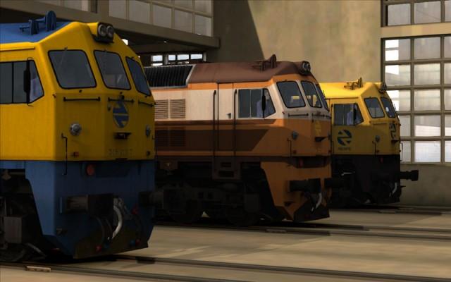Imatge al simulador dels tres esquemes de pintura disponibles de la locomotora 319.2